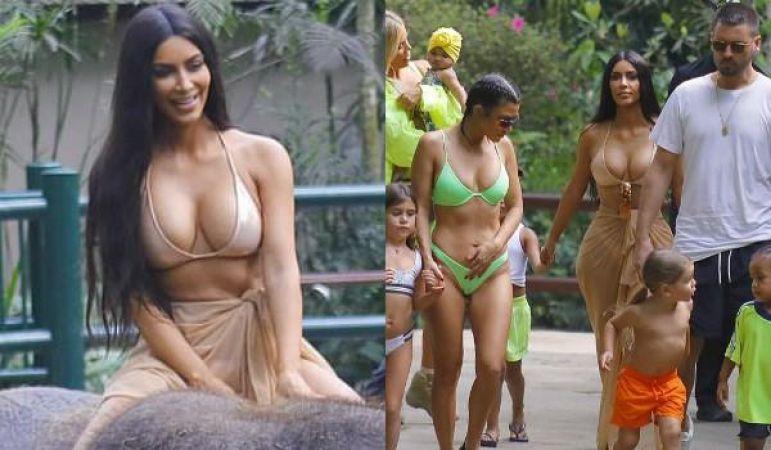 हॉट बिकिनी पहनकर हाथी की संवारी कर रहीं हैं ये मॉडल