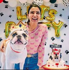 Samantha celebrated her dog's birthday with great pomp