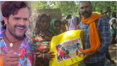 Bhojpuri actor Khesari Lal Yadav providing aid to Bihar flood victims