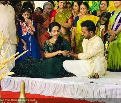 Malayam actors Vishnu Unnikrishna and Aishwarya engaged