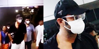 Prabhas spotted at the airport wearing a mask