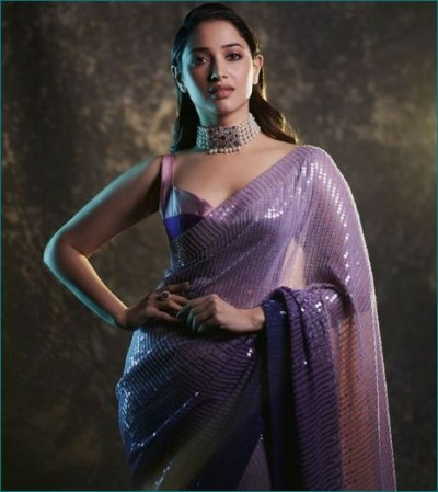 Tamannaah Bhatia looks gorgeous in purple sequin saree, check out pictures here