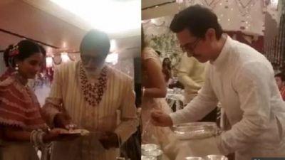 ईशा अंबानी की शादी में नौकर से भी बदत्तर हालत में नजर आए अमिताभ और आमिर खान!
