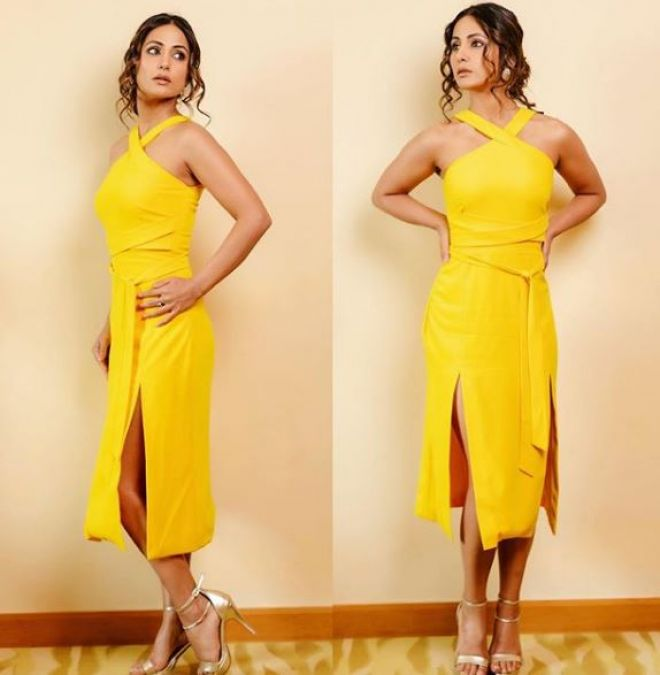 Hina Khan once again showed off her sexy figure in a yellow dress