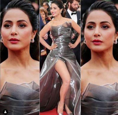 Cannes 2019: सिल्वर गाउन में बिजलियाँ गिराती नजर आईं हिना खान