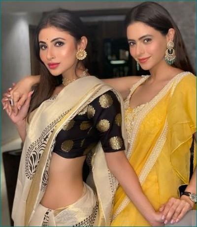 Aamna Sharif and Mouni Roy stuns in Sari on Diwali