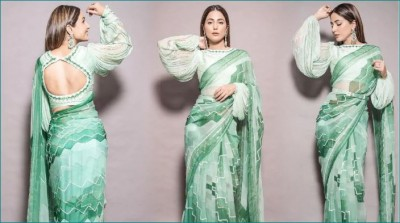 Hina Khan stuns in Mint Green Saree on Diwali, price of Saree will blow your mind