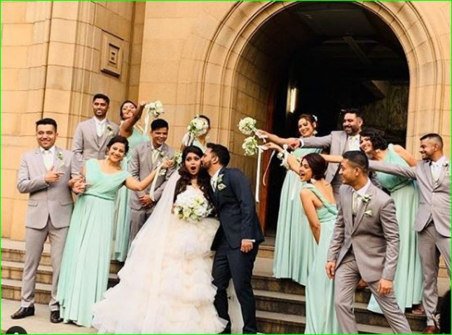 Jennifer Winget arrives as a bridesmaid at her friend's ...