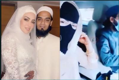 Sana Khan enjoying car ride with husband Mufti Anas Sayied
