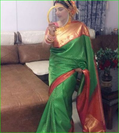 Rakhi Sawant celebrated her first Karwachauth in a green Banarasi saree, husband was not seen