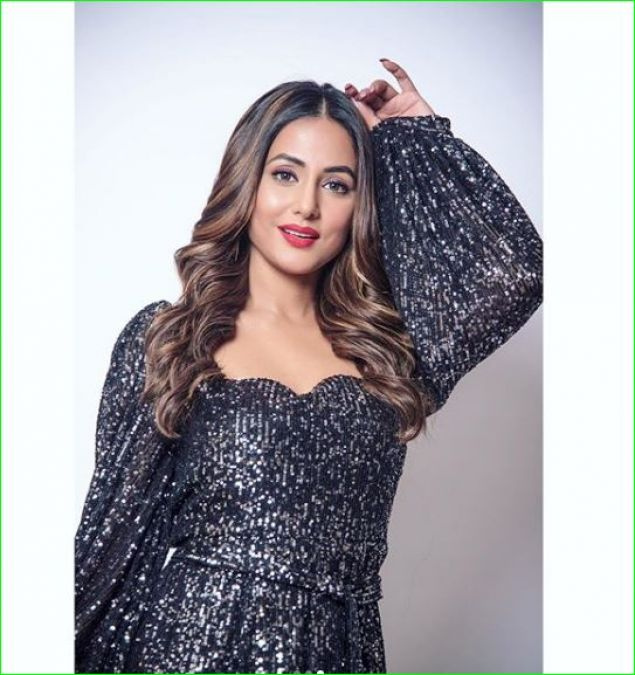 Hina Khan shows off her sexy style in a glittering black dress