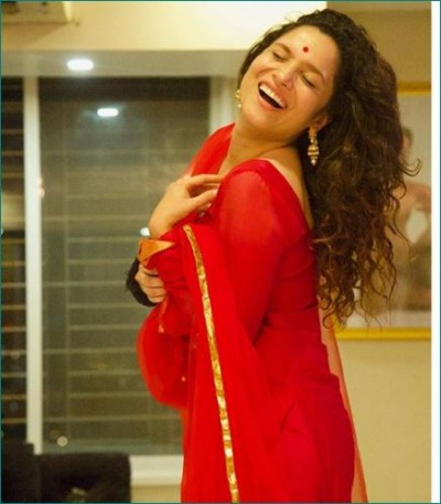 Ankita Lokhande looks gorgeous in red dress
