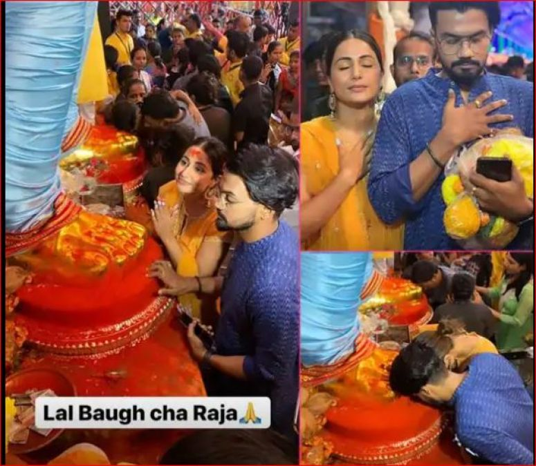 Hina Khan reached to worship 'Lal Bhag ka Raja' along with her boyfriend