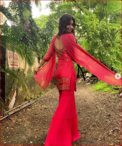 Karishma Tanna setting fire on Instagram in Red Sharara