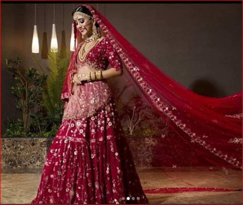 Naira becomes a bride in red bridal attire, you'll love her picture!