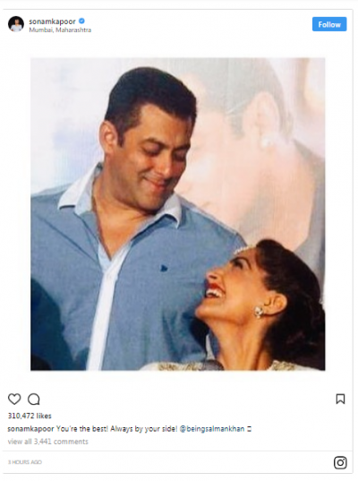 Sonam Kapoor posts a lovely photo with Salman Khan, have a look