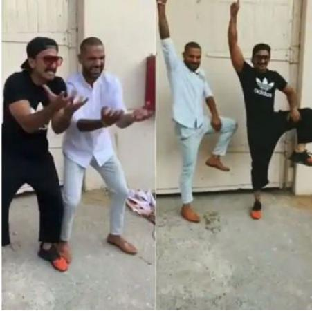 Ranveer Singh shakes leg with Shikhar Dhawan on Khalibali, check it out here