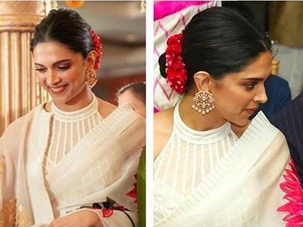 You will be surprised to know the price of Deepika Padukone's pristine white Rohit Bal sari