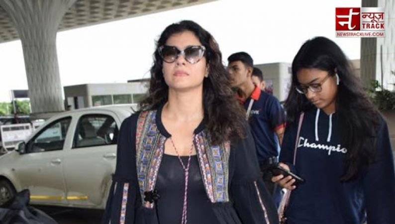 Kajol spotted on Mumbai airport with daughter Nysa