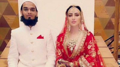 Sana Khan smiles as she twins in white with her husband, checkout cute photo here