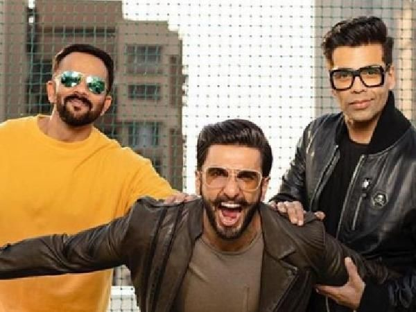 Simmba promotional poster: Ranveer Singh strikes a pose with Karan Johar and Rohit Shetty