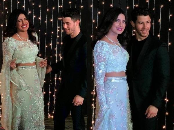 See pics -Priyanka Chopra looks like a dream in this mint floral lehenga for her wedding reception
