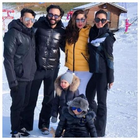 See Pics Taimur Ali Khan enjoys riding on  sledge