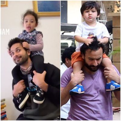 After Taimur Ali Khan, Misha sit on dad Shahid's shoulders