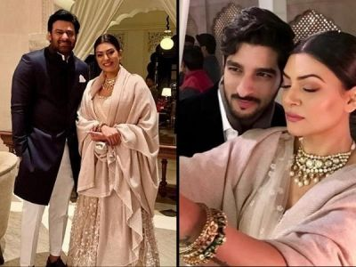 Sushmita Sen shares a cute  click with her beau Rohman Shawl and Bahubali star Prabash at SS Rajamouli's son's wedding- See pics