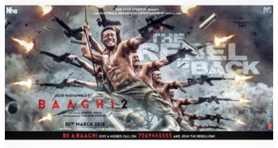 Tiger Shroff goes all guns blazing in'Baaghi 2' new poster