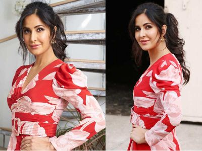 Katrina Kaif looks Red flower in her dress at Bharat Promotions