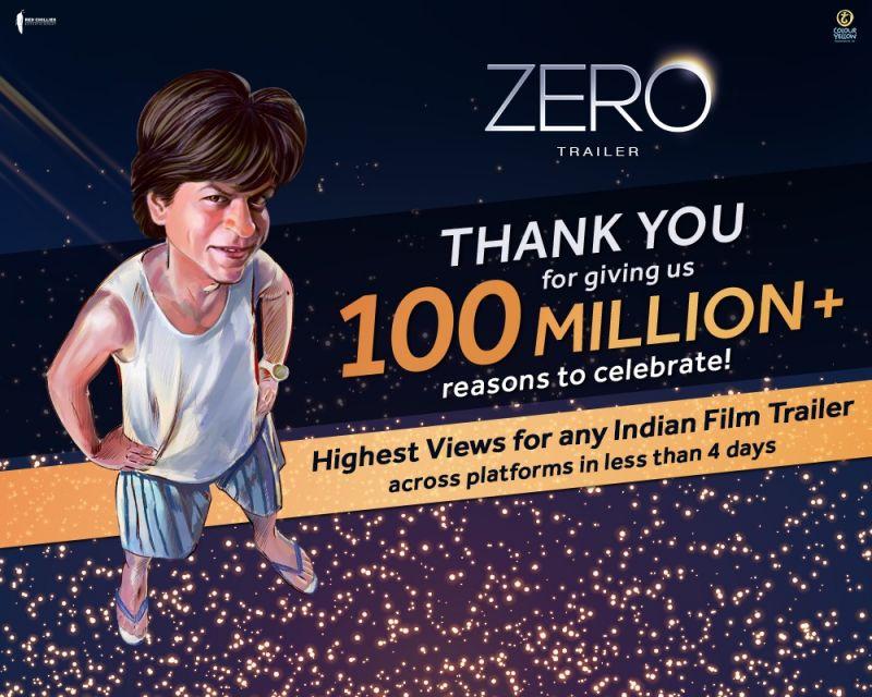 Shah Rukh Khan's Zero trailer clocks 100 million views in just 4 days
