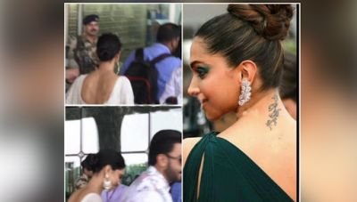 See Photos : Deepika Padukone finally takes off the RK tattoo after her wedding to Ranveer Singh