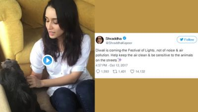 Shraddha Kapoor urges 'crackers free Diwali' stand for animals