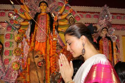 Former Miss Universe Sushmita Sen seen worshiping maa Durga with daughters