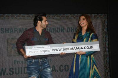 See Pics : Anushka Sharma and Varun Dhawan  at Sui Dhaaga website launch event