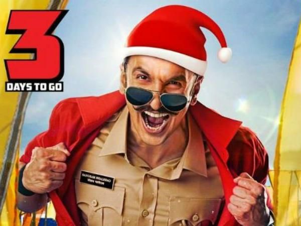 On Christmas,  Ranveer Singh's  Simmba poster out : Sangram Bhalerao  wears  a Santa Claus hat