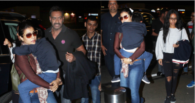 Ajay Devgn-Kajol along with kids spotted at the Mumbai airport