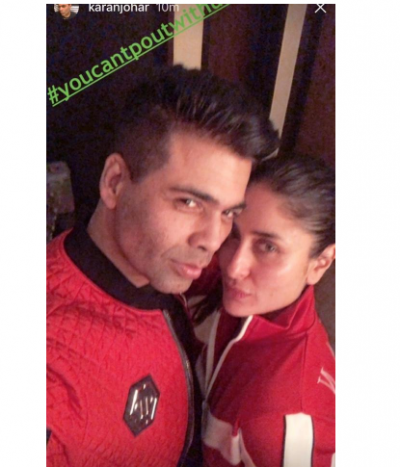 BFFs Kareena Kapoor and Karan Johar clicked in a selfie pout