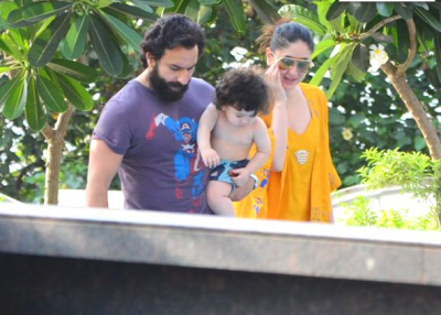 In pics! Taimur Ali Khan enjoys some pool time with family