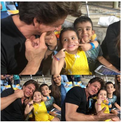 Cuteness overloaded! Shahrukh Khan and Ziva Dhoni having a fun time