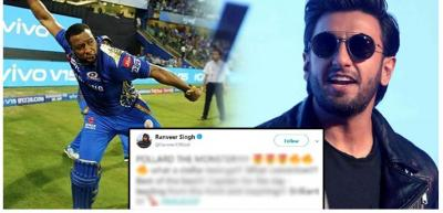 Pollard the Monster: Ranveer Singh tweet's Over Mumbai Indians victory against Punjab goes viral