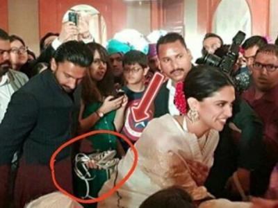 Ranveer Singh holds Deepika Padukone's sandals, pic goes viral