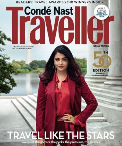 Aishwarya Rai Bachchan  rocks like the Boss  in red on the cover of Conde Nest Traveller