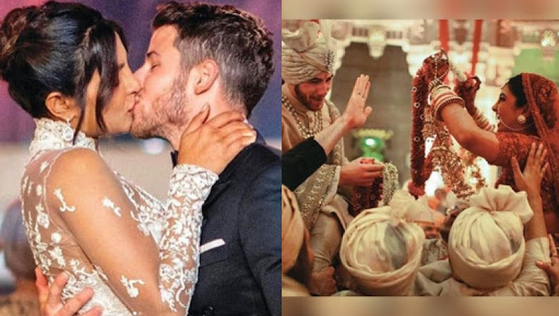 New Photos Videos: Priyanka Chopra and Nick Jonas' first romantic kiss when they said 'I do'