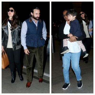 See photos -Taimur Ali Khan leaves for London to celebrate New Year holidays with Saif Ali Khan and Kareena Kapoor