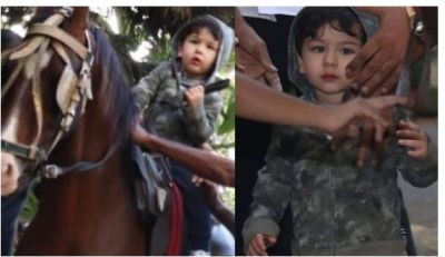 Cute Taimur Ali Khan recent sensation is on horse riding video just sooth to your eyes…check video inside