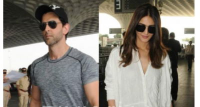 Hrithik Roshan and Vaani Kapoor steps out from airport in casual look