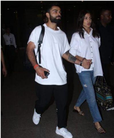 Virat Kohli and Anushka Sharma same colour duo returned from vacation