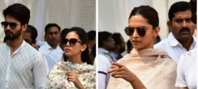 Shahid Kapoor with Mira Rajput and Deepika Padukone arrived to pay last respect to Bollywood's Chandni